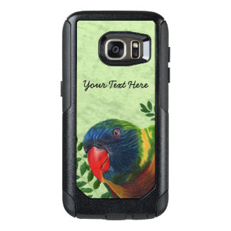 Colorful Parrot Red Beak in Green Leaves OtterBox Samsung Galaxy S7 Case