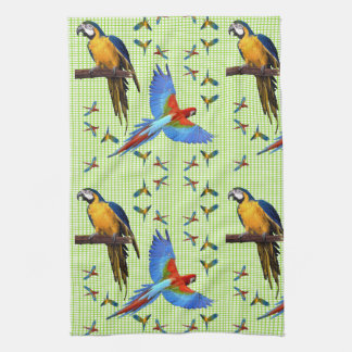 Colorful Parrots Scarlet Blue and Gold Macaw Tea Towel