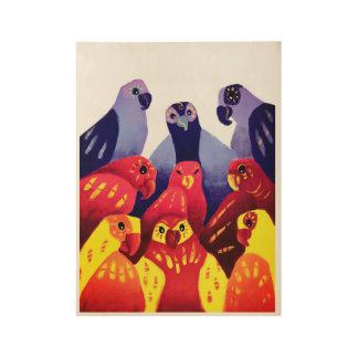 colorful parrots wood poster