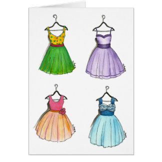 Colorful Party Dresses Notecards Cards