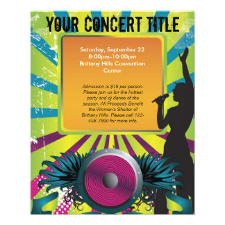 Colorful Party Flyer, Singer with Winged Speaker Flyer