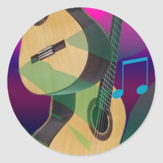Colorful Party Guitars Classic Round Sticker