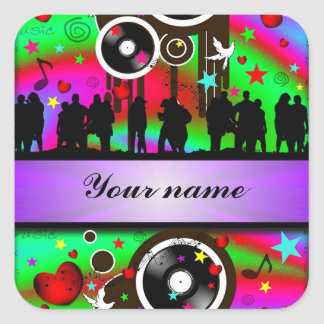 Colorful party people dancing square sticker