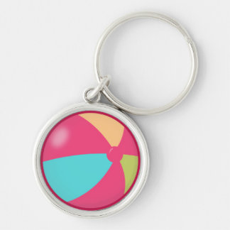 Colorful Pastel Beach Ball 2 Silver-Colored Round Key Ring
