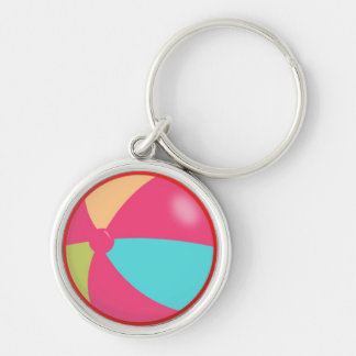 Colorful Pastel Beach Ball Silver-Colored Round Key Ring