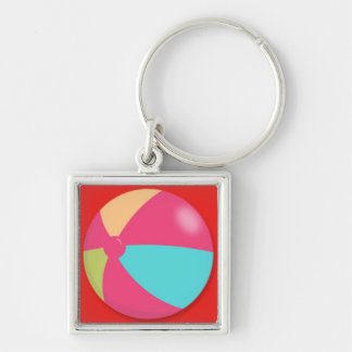 Colorful Pastel Beach Ball Silver-Colored Square Key Ring