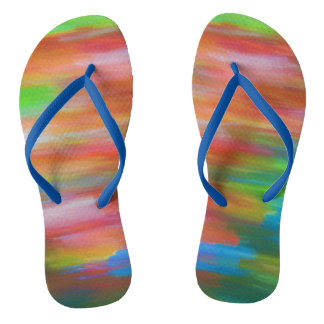 Colorful pastel chalk art in rainbow colors flip flops