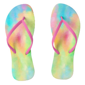 Colorful pastel chalk art in soft rainbow colors flip flops