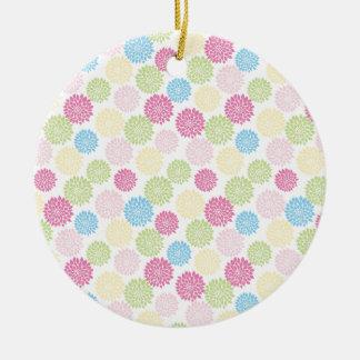 Colorful Pastel dahlia flowers pattern Christmas Ornament