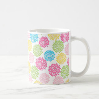 Colorful Pastel dahlia flowers pattern Coffee Mug