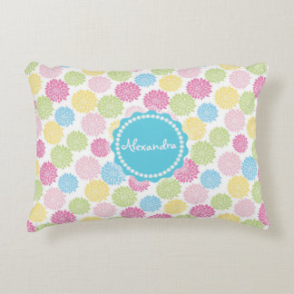 Colorful Pastel dahlia flowers pattern name Decorative Cushion