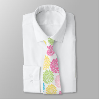 Colorful Pastel dahlia flowers pattern Tie