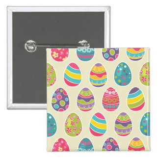 Colorful Pastel Easter Eggs Cute Pattern 15 Cm Square Badge