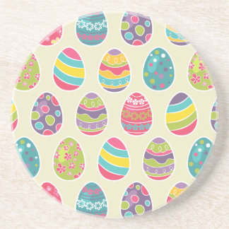 Colorful Pastel Easter Eggs Cute Pattern Beverage Coaster