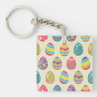 Colorful Pastel Easter Eggs Cute Pattern Double-Sided Square Acrylic Key Ring
