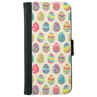 Colorful Pastel Easter Eggs Cute Pattern iPhone 6 Wallet Case