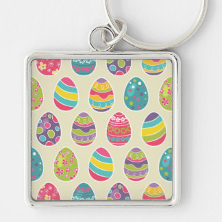Colorful Pastel Easter Eggs Cute Pattern Silver-Colored Square Keychain