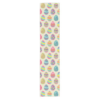 Colorful Pastel Easter Eggs Cute Pattern Short Table Runner
