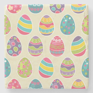 Colorful Pastel Easter Eggs Cute Pattern Stone Beverage Coaster