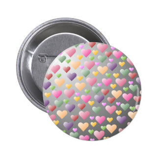 Colorful Pastel Hearts Pattern Button