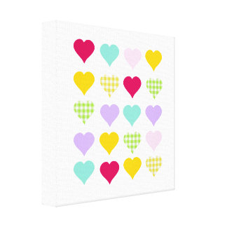 Colorful pastel hearts pattern canvas print