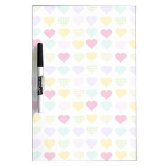 Colorful pastel hearts pattern dry erase board