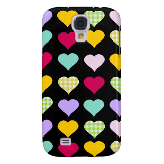 Colorful pastel hearts pattern galaxy s4 case