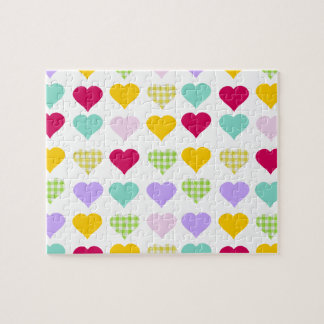 Colorful pastel hearts pattern jigsaw puzzle
