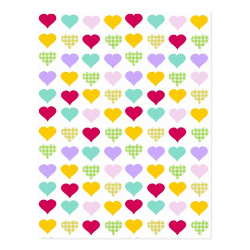 Colorful pastel hearts pattern postcard