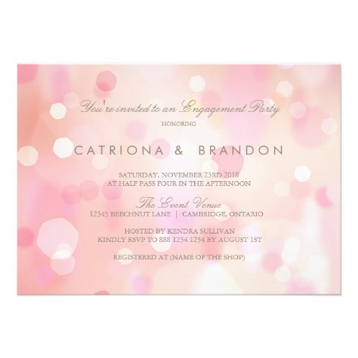 Colorful Pastel Lights Engagement Party Invitation