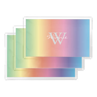 Colorful Pastel Rainbow Colors Monogram Acrylic Tray