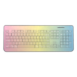 Colorful Pastel Rainbow Multicolored Wireless Keyboard