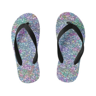 Colorful Pastel Tones Glitter Print Flip Flops