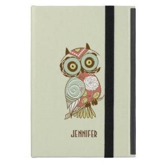 Colorful Pastel Tones Retro Floral Owl Cover For iPad Mini