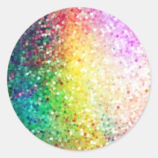 Colorful Pastel Tones Retro Glitter Round Sticker