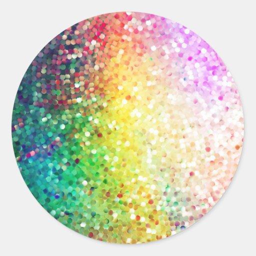 Colorful Pastel Tones Retro Glitter Round Stickers