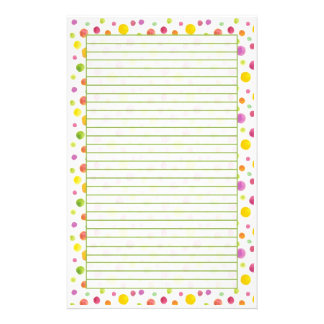 Colorful Pastel Watercolor Dots Lined Customized Stationery