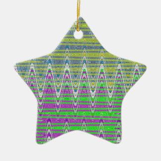 Colorful Pastel zigzag pattern Ceramic Star Decoration