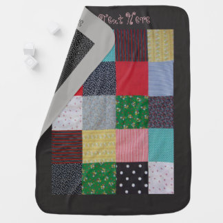 colorful patchwork fabric squares vintage look dog baby blanket