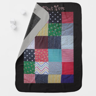colorful patchwork fabric squares vintage style buggy blanket