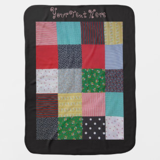 colorful patchwork fabric squares vintage style pram blanket