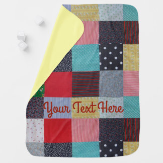 colorful patchwork fabric squares vintage style receiving blanket