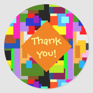 Colorful Patchwork Layers Abstract Thank You Round Sticker