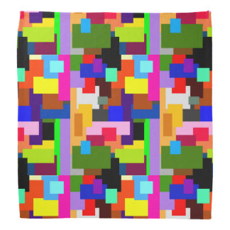 Colorful Patchwork Layers Modern Abstract Bandana