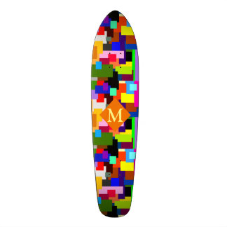 Colorful Patchwork Layers Modern Abstract Monogram 20 Cm Skateboard Deck