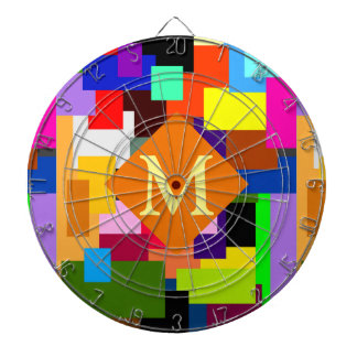 Colorful Patchwork Layers Modern Abstract Monogram Dartboard