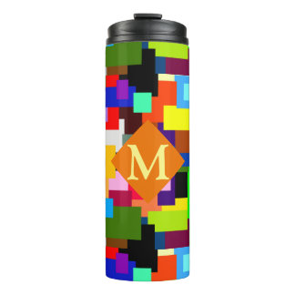 Colorful Patchwork Layers Modern Abstract Monogram Thermal Tumbler