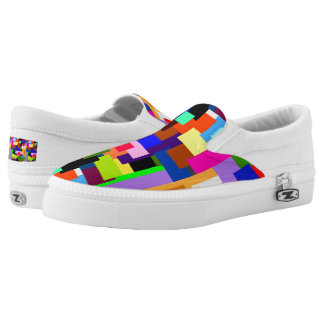 Colorful Patchwork Layers Modern Abstract Slip-On Shoes