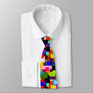 Colorful Patchwork Layers Modern Abstract Tie