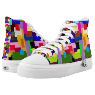 Colorful Patchwork Layers of Tiles Modern Abstract High Tops